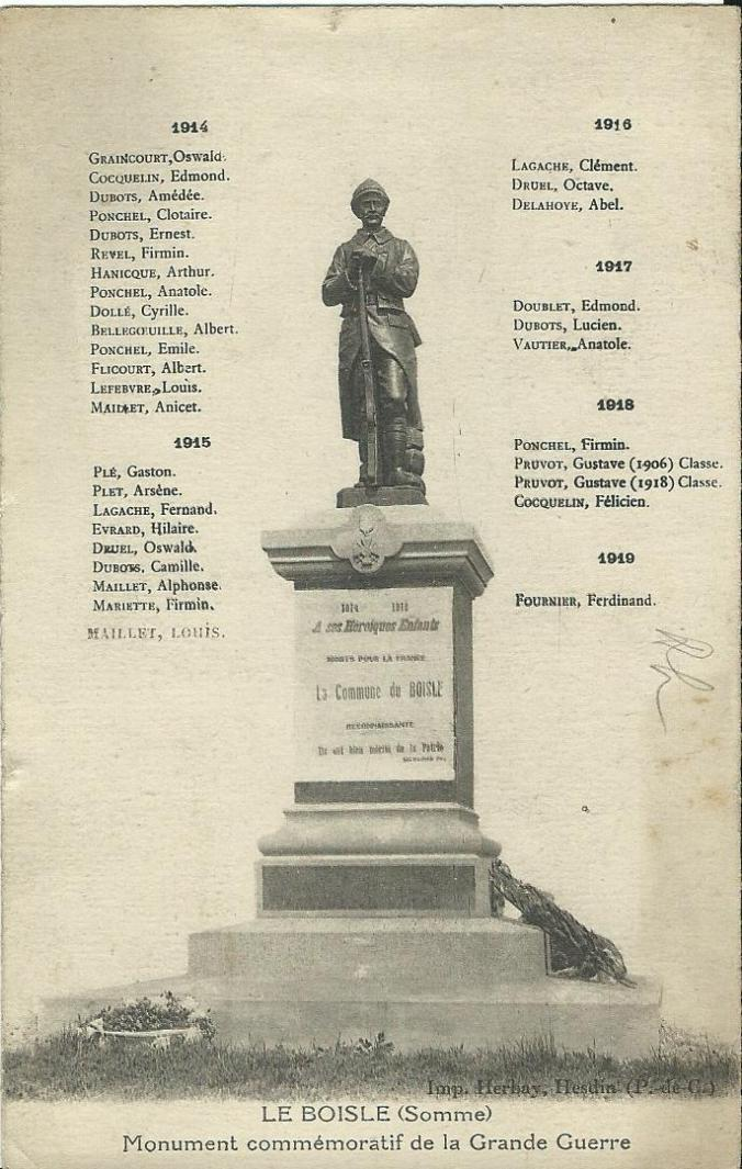 CPA Le Boisle Monument aux morts