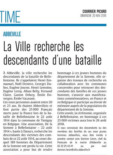 Le Courrier Picard Abbeville - 20-05-18