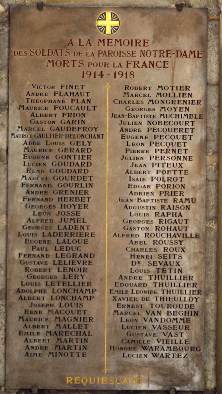 Plaque Cathédrale d'Amiens (Paul LEDUC 120e RI)