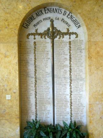 Enghien les Bains plaque commemorative mairie