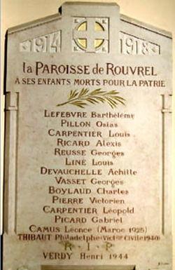 Rouvrel-plaque commemorative de l'eglise